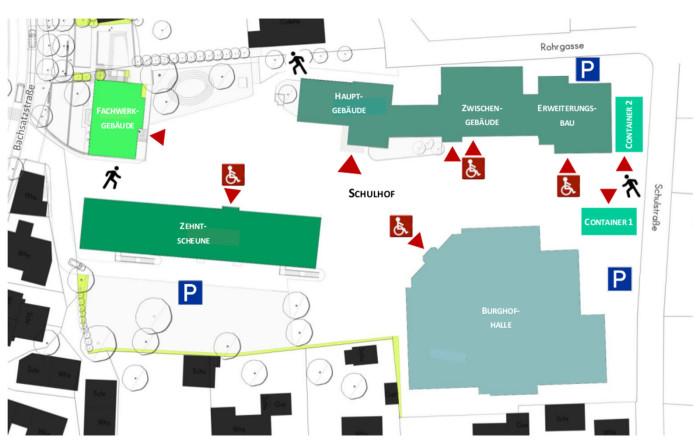 Lageplan der Burghof-Schule zur Orientierung